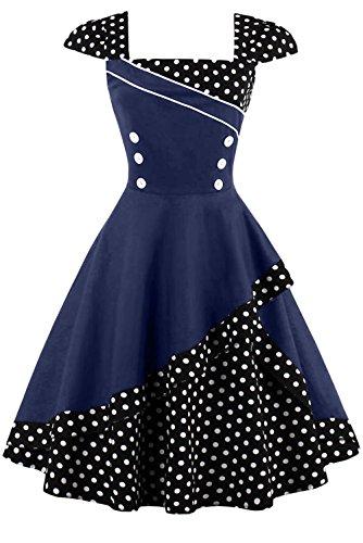 Damen 50er Jahre Vintage Rockabilly Kleid Pin up Cocktailkleid Polka Dots Partykleid Knielang- Gr. L (40), Schwarz Blau