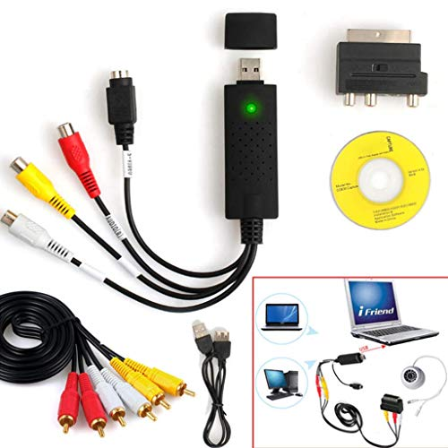 ARTFFEL Placa Base 1 Juego USB2.0 VHS to DVD Converter Au-DIO vídeo Kit de Dispositivo de Captura for Windows 10 HOGAR