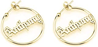 Sahaa Personalized Old English Hoop Name Earrings Custom 925 Sterling Silver Earring