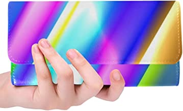 Unique Custom Colorful Strips Pipe Glowing Rainbow Design Women Trifold Wallet Long Purse Credit Card Holder Case Handbag