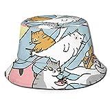 GodYo Bucket Hat Packable Reversible Colorido Maquillaje Lindo Cats-01 Imprimir Sun Hat Fisherman Hat Cap Camping al Aire Libre