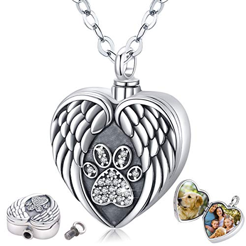 Eusense Sterling Silver Pet Cremation Jewellery Personalized Urn Necklace for Dogs Cats Ashes Keepsake Paw Heart Locket Necklace That Holds Pictures