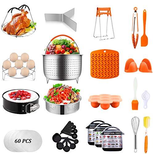 Artcome 91 PCS Accessories Set for Pressure Cooker 5,6,8 Qt - 60 Pcs Parchment Papers, 2 Steamer Baskets, Springform Pan, Stackable Egg Steamer Rack, Egg Bites Mold & More