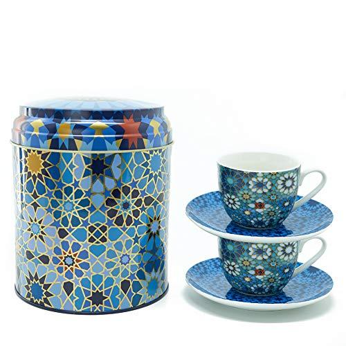 IMAGES D'ORIENT Geschenkset 2 in 1 Metalldosen mit 2 x 90ml Porcalain Espressotassen Espressobecher Moccatassen je mit einem Unterteller bunt orientalisch Gemustert