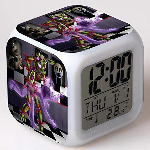GUOYXUAN Cartoon Spielzeug 7-Farben leuchtende LED Digitaluhr Geburtstagsgeschenk Multifunktion Touch 25
