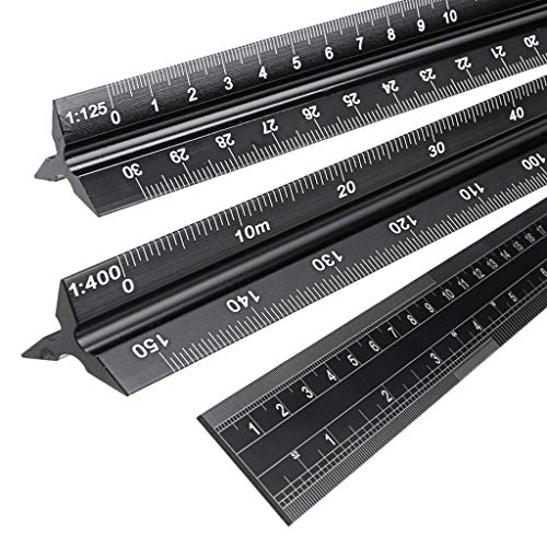OwnMy 30CM Solid Aluminum Metric Triangular Architect Scale Ruler Set, Architectural and Engineer Scale Ruler Set Professional Laser Etched Scales Drafting Rulers for Civil Engineering (Black)