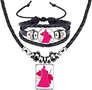 Women Posture Shadow Leaves Leather Necklace Bracelet Jewelry Set