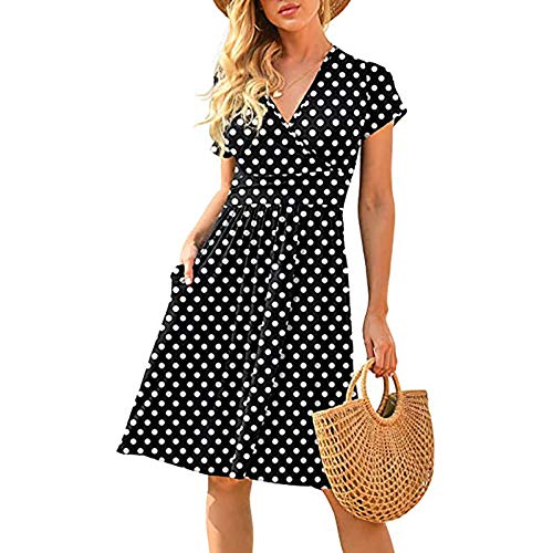 duanxiu Womens Fall Dresses Casual Short Sleeve V-Neck Short Party Dress with Pockets Girls Fall Dresses Autumn Outing White