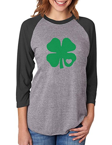 Irish Green Clover Heart St. Patricks Day 3/4 Women Sleeve Baseball Jersey Shirt XX-Large Black/Gray