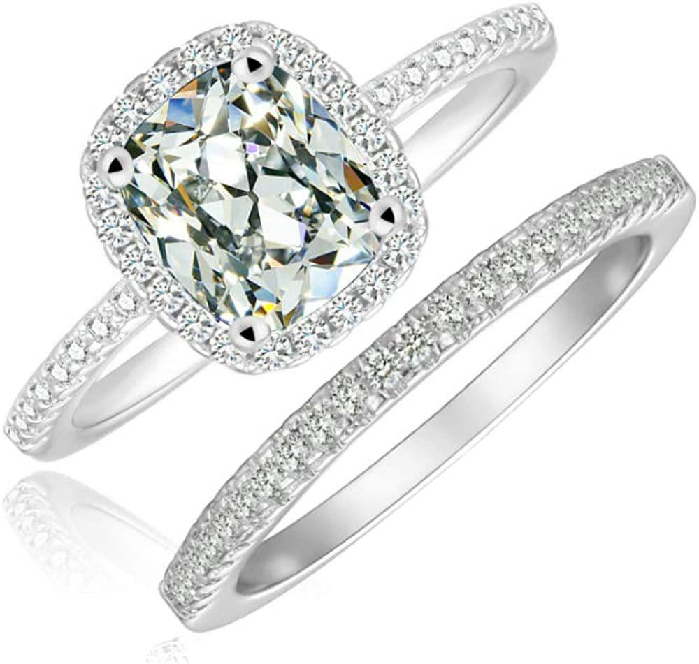 Cushion Cut Bridal Ring Set Accented Halo Engagement Ring Stackable Micropave Eternity Wedding Band