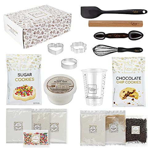 DIY Baking Kit - Baking Set & Supplies for Adults & Teens - Sugar Cookie Mix & Chocolate Chip Cookie Mix, Icing Mix, Rolling Pin, Spatula, Cookie Cutter, Pan, & Measuring Tools