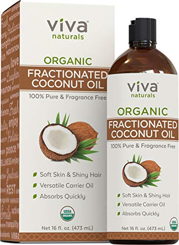 Organic Fractionated Coconut Oil - Amazing Massage Oil & Carrier Oil for Essential Oils - Face Moisturizer & Body Oil, Non Greasy, 16 oz