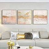Pintura decorativa, nórdico, moderno, ligero, de lujo, rosa, textura, lámina dorada, pintura decorativa, sala de estar, fondo artístico, pared 50x50cm NoFrame