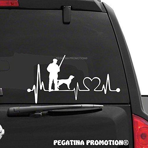Jäger mit Hund Huntsman Jagen Jagd Herzschlag Aufkleber 30 cm Herzlinie Hobby Sticker Auto Lack Scheibe Autoaufkleber von Pegatina Promotion ®