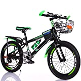YGTMV 18-22 Zoll Kids Studenten Bikes, Premium Carbon Stahl Variable Mountainbike, Single Speed ​​Variable Speed ​​Disc Brake Bike, Für Mädchen Jungen,Grün,20 inch