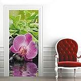 3D Pegatinas Decorativas de Puerta Orquídea literaria Vinilos Puerta Pegatina DIY Etiqueta de Puerta Interiores Autoadhesiva Impermeable Pared Murales para Cocina 77 * 200cm