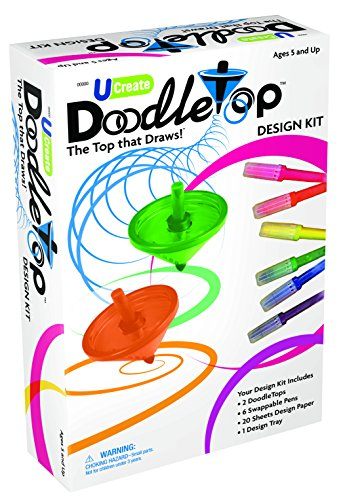 U-Create Doodletop Deluxe Kit with 1 Design Tray, Drawing Games, Marker Pens, Creative Art Spiral Spinning Top for Kids Age 5 & Above