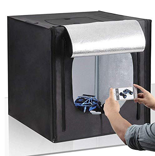 Amzdeal Caja de Fotografía Caja de Luz Portátil 50 x 50 x 50 cm para Hacer Fotos con 3 Fondos(Blanco/Negro/Naranja)+ 2 Tiras de LED y Bolsa de Transporte,Nueva versión
