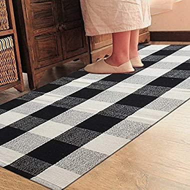 Ukeler 100% Cotton Rug Hand-woven Checkered Carpet Braided Kitchen Mat Black and White Floor Rugs Living Room Area Rug, 35.5''x58.6'', Black and White Plaid Rug