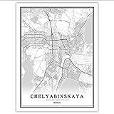 xwpox Plakat Russische Schwarz Weiß Welt Stadtplan Poster