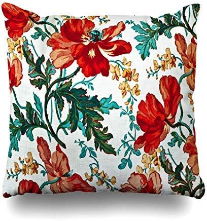 GFGKKGJFF0812 - Funda de cojín con diseño retro de flores rojas y estampado abstracto, diseño floral, color rosa, antiguo, vintage, adornado, 18 x 18 pulgadas, para sofás, asientos, fundas de almohada para niñas
