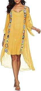 Lumeng Cubierta de Playa para Mujer Traje de baño para Mujer Cubre Ups Más el tamaño Traje de baño Perspectivas Encubrimientos Hombro frío Alto Bajo Algodón Crochet Bikini Cover Up Vestido de Playa