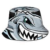 GOSMAO Sombrero de Cubo de tiburón vicioso de Dibujos Animados Unisex Sombrero de Pescador Sombrero de Sol al Aire Libre Negro