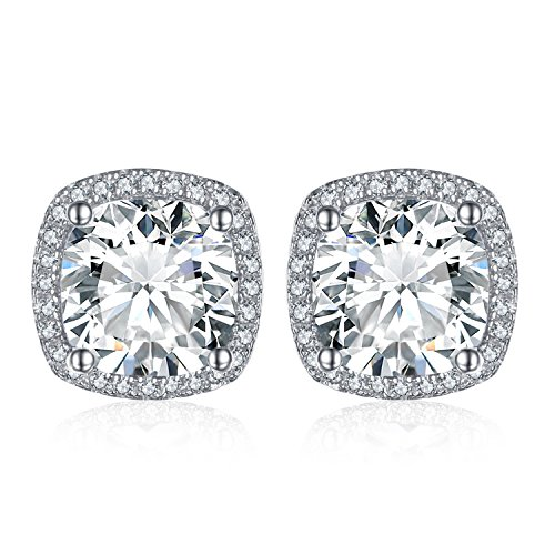 JewelryPalace Kissen 5ct Zirkonia Halo Ohrstecker 925 Sterling Silber