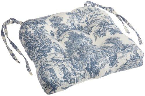 Ellis Curtain Victoria Park Toile Cushioned Chair Pad, Blue