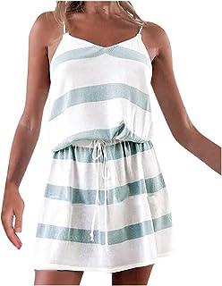 Women V-Neck Stripe Minin Dress, Ladies Adjustable Drawstring Sleeveless Loose Casual Short Dress
