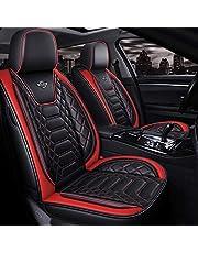 Stoelhoezen Auto Ademende stof, volledige set van 5 voor en achter comfort pads Universele compatibele airbag Rood