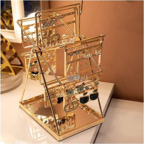 ZXCVB Estante de almacenamiento de joyas, Soporte de exhibición de la joyería giratoria Caballamiento metálico Diseño creativo hecho a mano, simple y elegante para pendientes colgantes (Color: Oro, Ta