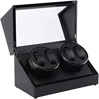 Watch Luxury Automatic Rotate Watch Winder Storage Box Watch with 4 Positions, Wood Shell, Leather Pillow, Fashion Watch (Color : Black)