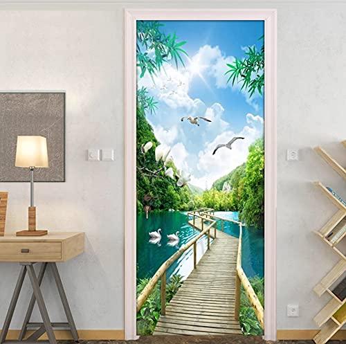 PVC autoadhesivo 3D puerta papel tapiz naturaleza paisaje puente de madera foto pared mural puerta pegatina sala de estar decoración del hogar pegatina 77 * 200 cm
