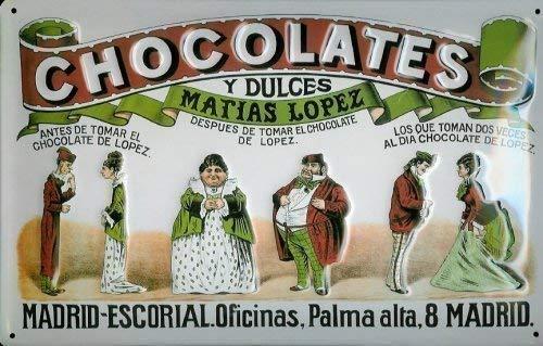 Chocolate olates Matias Lopez Madrid Cartel de chapa 20x 30cm