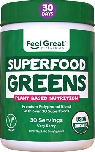 Superfood Greens Powder - Very Berry by Feel Great Vitamin Co, Formulated with Organic Ingredients, Vitamins, Minerals, Vegan, Whole Food Supplement - Fruits, Veggies and Probiotics