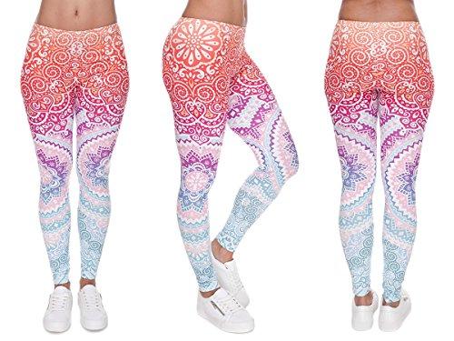 Alsino Leggings Damen Bedruckt Sexy Leggins Ladies mit Print Look Motiv Muster Stretch Legins Hose, wählen:LEG-061 Muster bunt