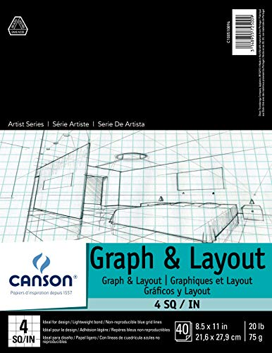 Canson Foundation Series Graph and Layout Paper Pad with Non Reproducible Blue Grid, Fold Over, 20 Pound, 4 by 4 Grid on 8.5 x 11 Inch, 40 Sheets