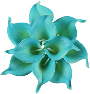 Leagel Calla Lily Bridal Wedding Bouquet Head Lataex Real Touch Flower Bouquets (10, Blue)