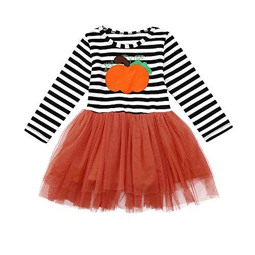 Kleider Kinderbekleidung Honestyi Kinder Baby Mädchen Kürbis Striped Print Langarm Halloween Kleid + Stirnbänder gesetzt (Mehrfarbig,100)