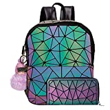 Holographic Backpack Luminous Geometric Bag Reflactive Women Backpack for Girl Student Traveling Bags (Zipper Backpack With Purse)