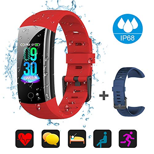Price comparison product image Fitness Tracker Activity Tracker Watch,  Waterproof Activity Tracker Smart Watch Remote Photography Heart Rate Blood Pressure Blood Oxygen Monitor Step Calorie Counter Pedometer for Women (Red)