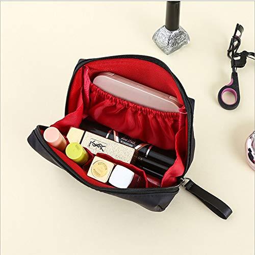 Fille Coeur Maquillage Petit Portable Simple Grande Capacité Portable Mini Sac De Rangement Cosmétique Wash Noir Rouge