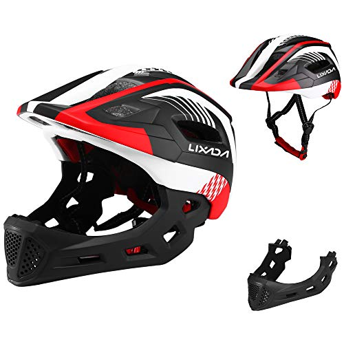 Lixada Kids Bike Helmet Adjustable Detachable Full Face Cycling Helmet Breathable Ultralight Cycling Sports Helmet for Bicycle Skateboard Scooter Roller Skating Protective Gear (20.5-22 Inches)