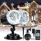 LOFTEK Christmas Projector Lights Outdoor, Upgraded LED Binocular Rotating Snowflake Projector Lights, IP65 Waterproof Snowfall Landscape Light for Xmas Halloween Holiday Party Décor