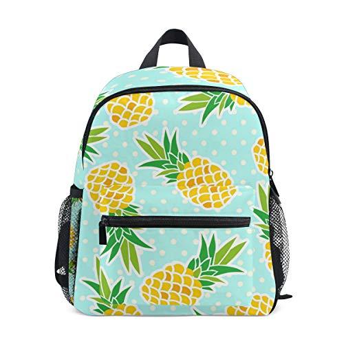 QMIN Kinder Rucksack Tropische Ananas Polka Dot, kleine Kleinkind Vorschul-Schultertasche Reise Elementar-Kindergarten Schultaschen für Mädchen Jungen Kinder
