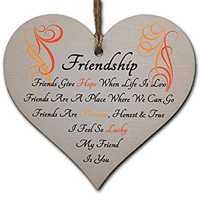 Handmade Wooden Hanging Heart Plaque Gift Perfect for your Best Friend Friendship Keepsake