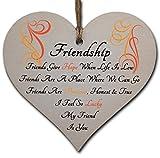 Handmade Wooden Hang<span class='highlight'>in</span>g Heart Plaque <span class='highlight'>Gift</span> Perfect for your Best Friend Friendship Keepsake
