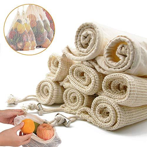 [Plastikfrei] Wiederverwendbare Obst- und Gemüsebeutel aus Luftdurchlässiger Bio-Baumwolle, Praktisches 8er Paket Einkaufstasche mit Kordelzug, Inkl. 6X Netztasche+ 2X Brotbeutel
