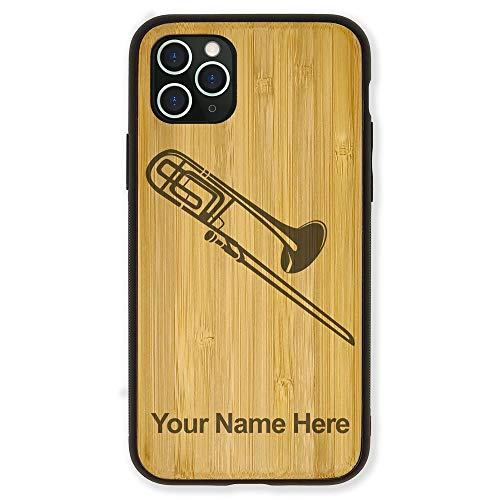 Case Compatible with iPhone 11, Trombone, Personalized Engraving Included (Bamboo)